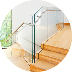 glass balustrade with oak stair
